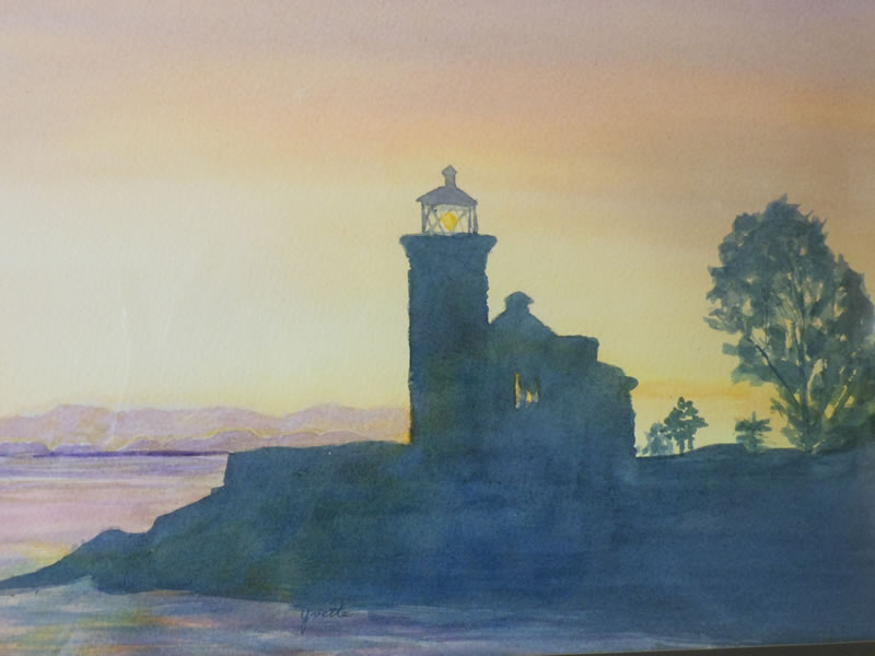 Lighthouse at twilight by Yvette Fleming